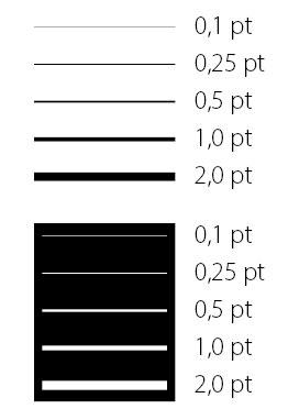 Strichstärken / Linienstärken im Druck