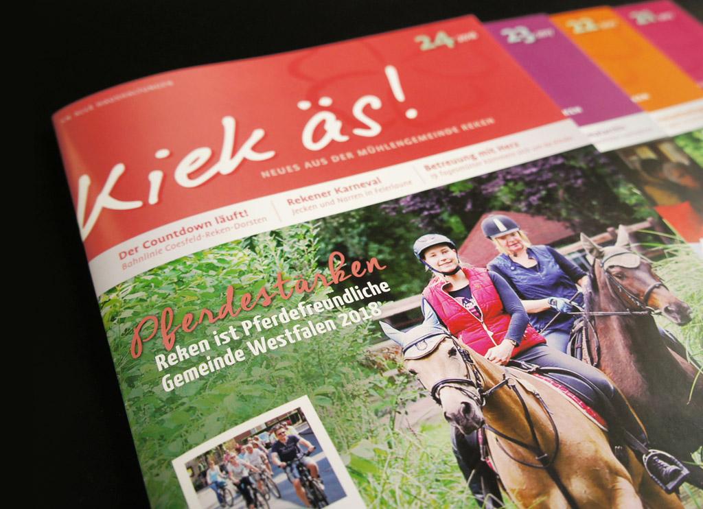 Gestaltung und Druck von KIEK ÄS, dem Magazin für Reken