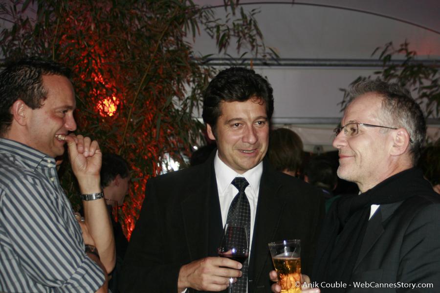 """Fabrice Calzettoni, Laurent Gerra et Thierry Fremaux à """"La Plateforme"""" - Festival Lumière 2009 - Lyon - Photo © Anik Couble"""