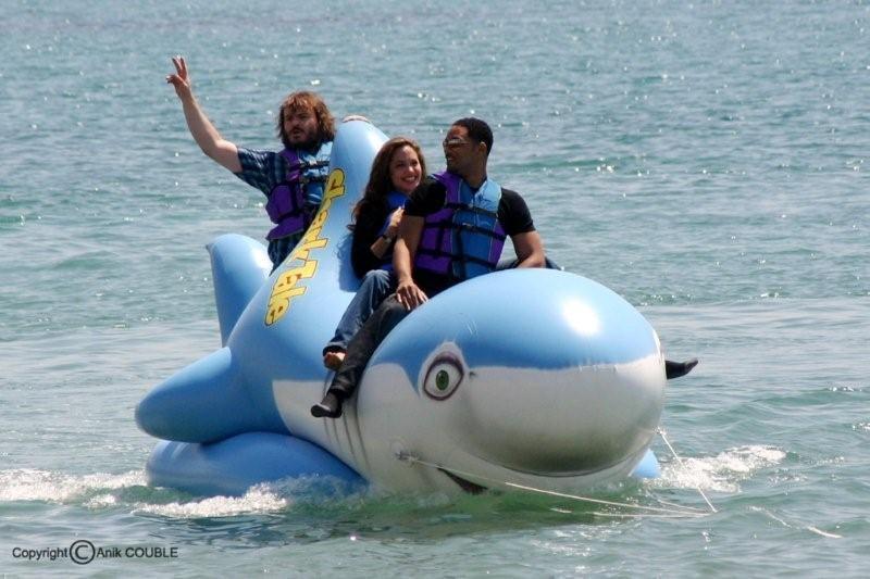 """Will Smith, Angeline Jolie, Jack Black en promotion pour le film """" Gang des Requins """" en 2004  Photo : Anik Couble"""