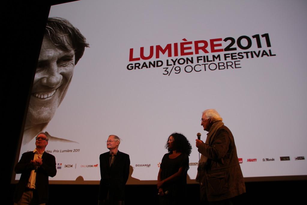 Thierry Fremaux, Roger Corman, Alex Stapleton et Bertrand Tavernier - Festival Lumière 2011 - Lyon - Photo © Anik Couble