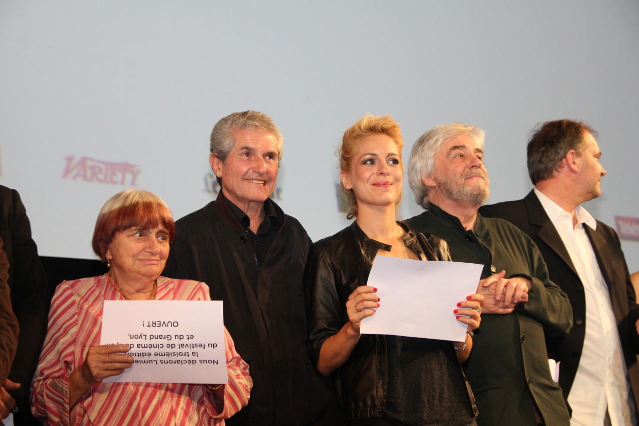Agnès Varda, Claude Lelouch,  Audrey Dana et Andrzej Zulawski - Festival Lumière 2011 - Lyon - Photo © Anik COUBLE