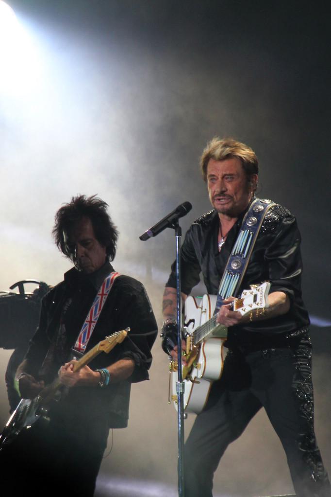 Johnny Hallyday et Robin Le Mesurier - Lyon - Juin 2012 © Anik COUBLE