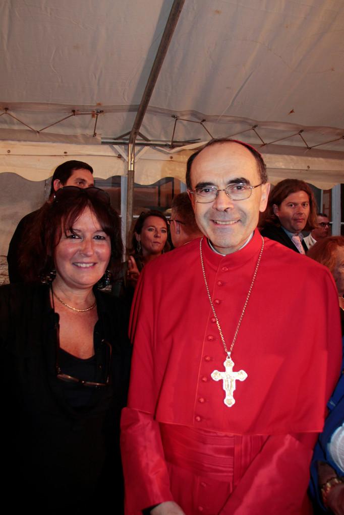 Le Cardinal Philippe Barbarin et Anik Couble, lors du renouvellement du vœu des Echevins - Musée de Fourvière - Lyon - 08 Sept 2013 © Pascale Millet
