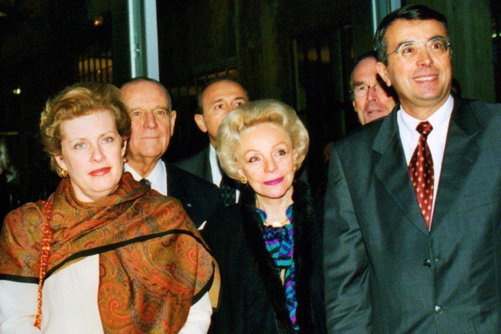 Catherine TRAUTMAN, Raymond BARRE et son épouse, Gérard COLLOMB et Jean-Jack QUEYRANNE - Institut Lumière 1998 © Anik COUBLE