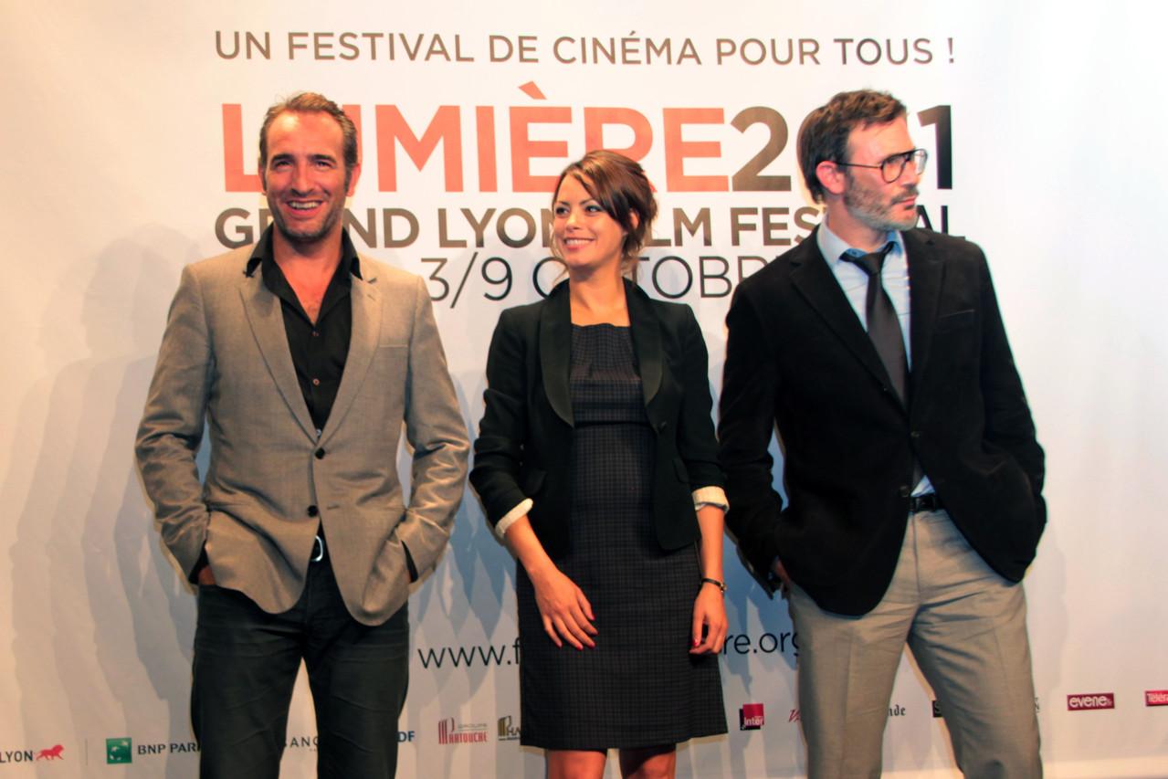 Jean Dujardin, Bérenice Bejo et Michel Hazanavicius - Festival Lumière 2011 - Lyon - Photo © Anik COUBLE
