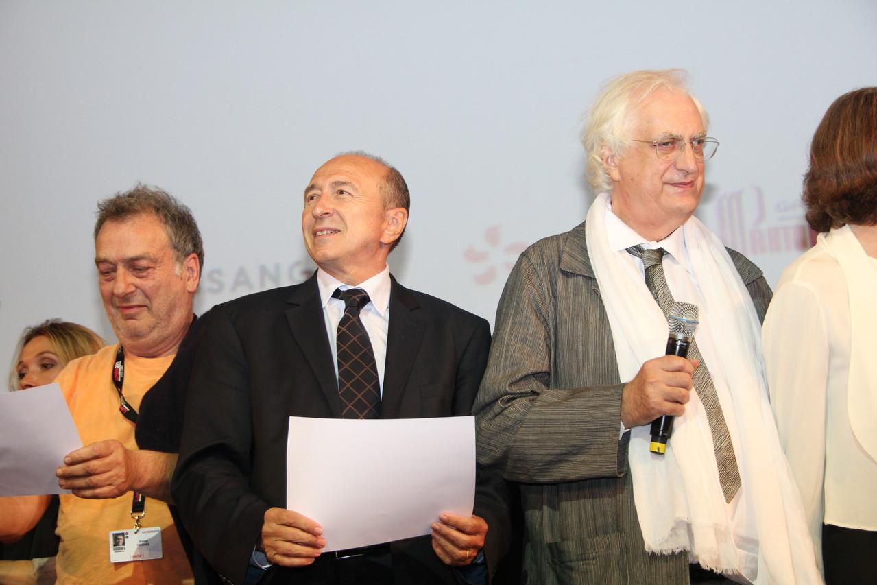 Stephane Frears, Gérard Collomb et Bertrand Tavernier - Festival Lumière 2011 - Lyon - Photo © Anik COUBLE