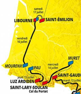 Moitié sud de la france                                                                                          et fin de l'étape du 8 juillet