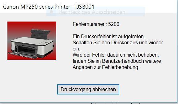 Farbtintenstrahlendrucker Canon MP250, Druckerfehler, Fehlermeldung 5200, Berlin Steglitz-Zehlendorf, Lichterfelde, Dahlem