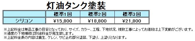 札幌灯油タンク塗装の料金表