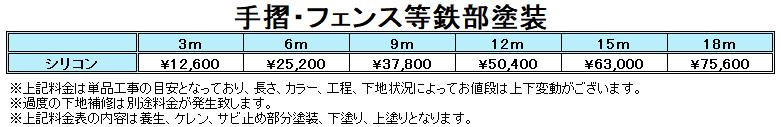札幌手摺・フェンス塗装料金表
