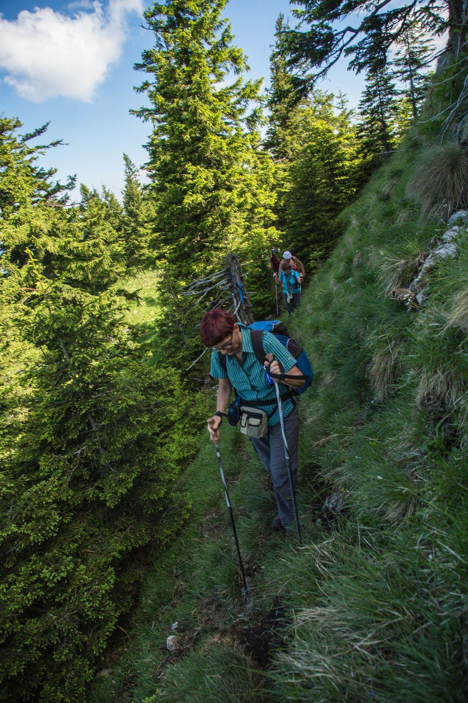 Steile Querung unterhalb vom Gipfel