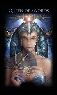 Reine d'Épées - Legacy of the Divine Tarot
