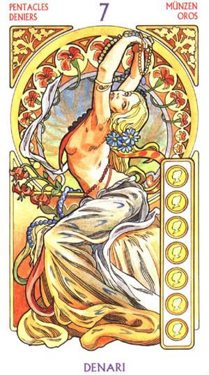 7 de Deniers - Le tarot Art Nouveau