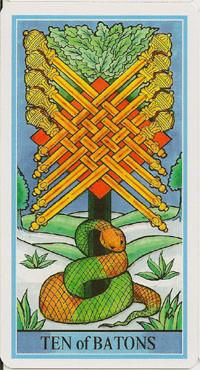 10 de Bâtons - Le tarot de la Roue de Dame Fortune