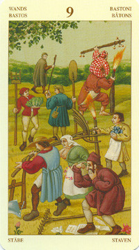 9 de Bâtons - Le tarot Bruegel