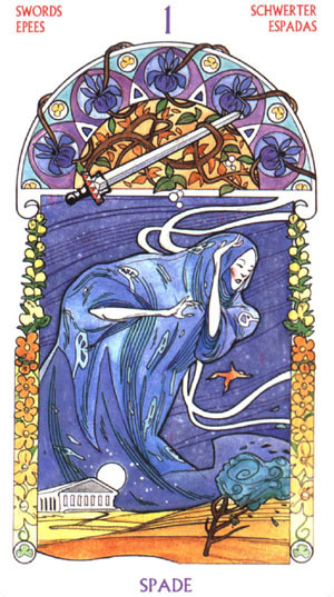 As d'Épées - Le tarot Art Nouveau