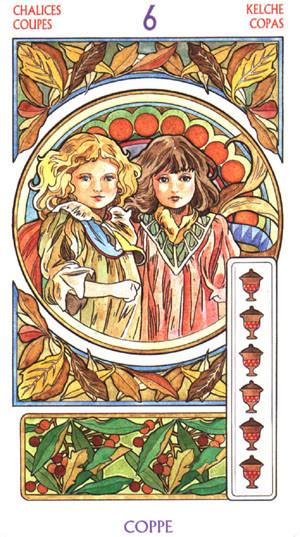 6 de Coupes - Le tarot Art Nouveau