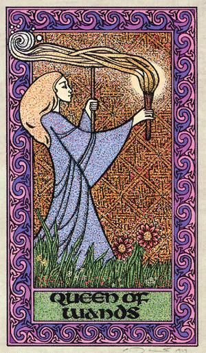 Reine de Bâtons - Le tarot Celtique
