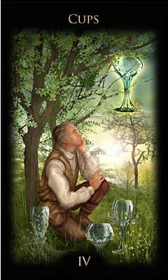 4 de Coupes - Legacy of the Divine Tarot