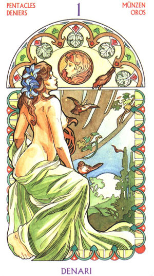 As de Deniers - Le tarot Art Nouveau