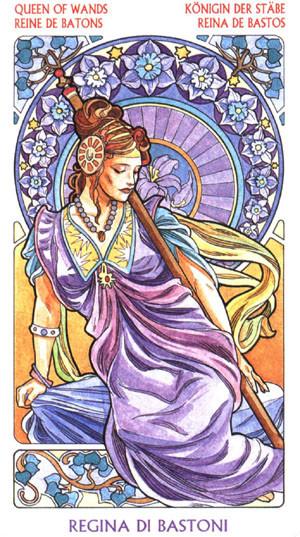 Reine de Bâtons - Le tarot Art Nouveau