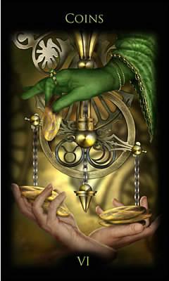 6 de Deniers - Legacy of the Divine Tarot