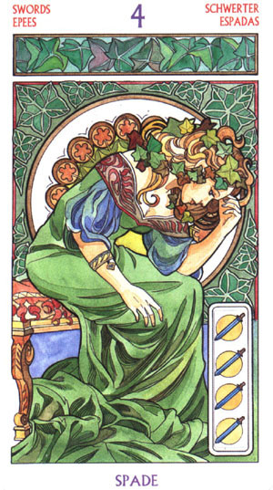 4 d'Épées - Le tarot Art Nouveau