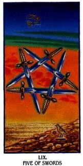 Ibis Tarot - 5 d'Épées