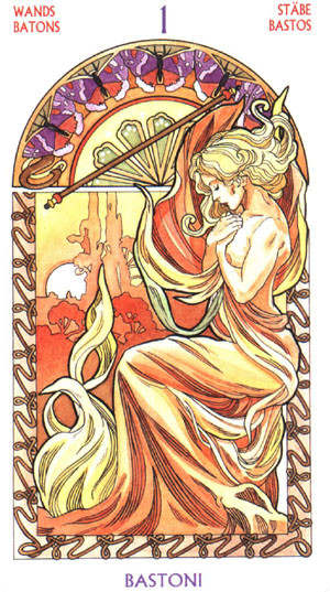 As de Bâtons - Le tarot Art Nouveau