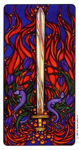 As d'Épées - Le tarot Art Nouveau de Myers