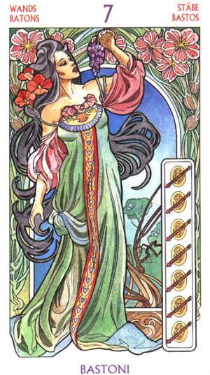 7 de Bâtons - Le tarot Art Nouveau