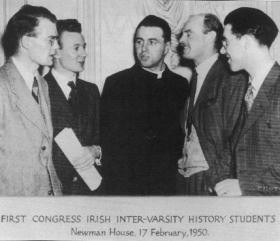 Some of the organisers of the association's first congress—Niall Delargy (UCG), Cecil Smith (QUB), F. X. Martin (UCD), Laird Taylor (TCD) and Con O'Leary (UCC).