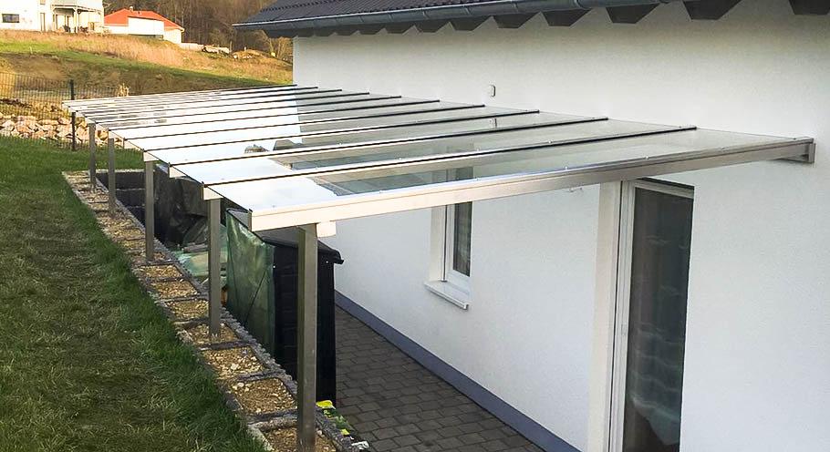 berdachung terrasse eingang neubau an metallbau. Black Bedroom Furniture Sets. Home Design Ideas