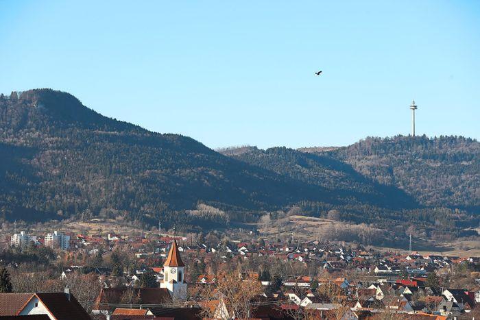 Blick auf den Plettenberg von der Kapfstraße in Frommern aus – diese Ansicht wird sich verändern: Die unterhalb des durch die Lüfte fliegenden Vogels verlaufende Hangkante zwischen dem Waldbestand ist diejenige, die von diesem Jahr an abgebaut wird.