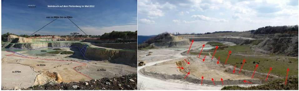 Abbau im Mai 2012                          Abbau im Mai 2021 --- die grün- und blauschraffierte Fläche ist abgebaut (siehe auch ca. Pfeil-Markierung!