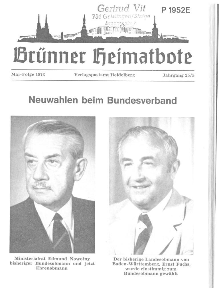 1973 Wahl zum Bundesvorsitzenden