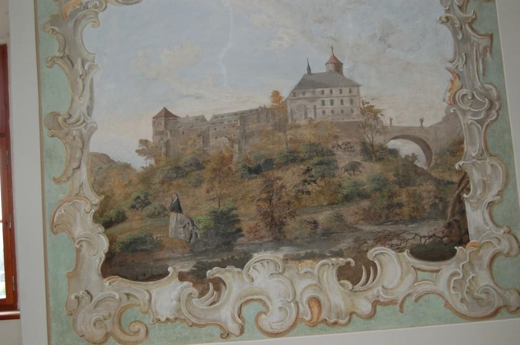 Die Gemälde im Inneren des Schlosses zeigen den bisher bekannten ältesten Zustand des Schlosses