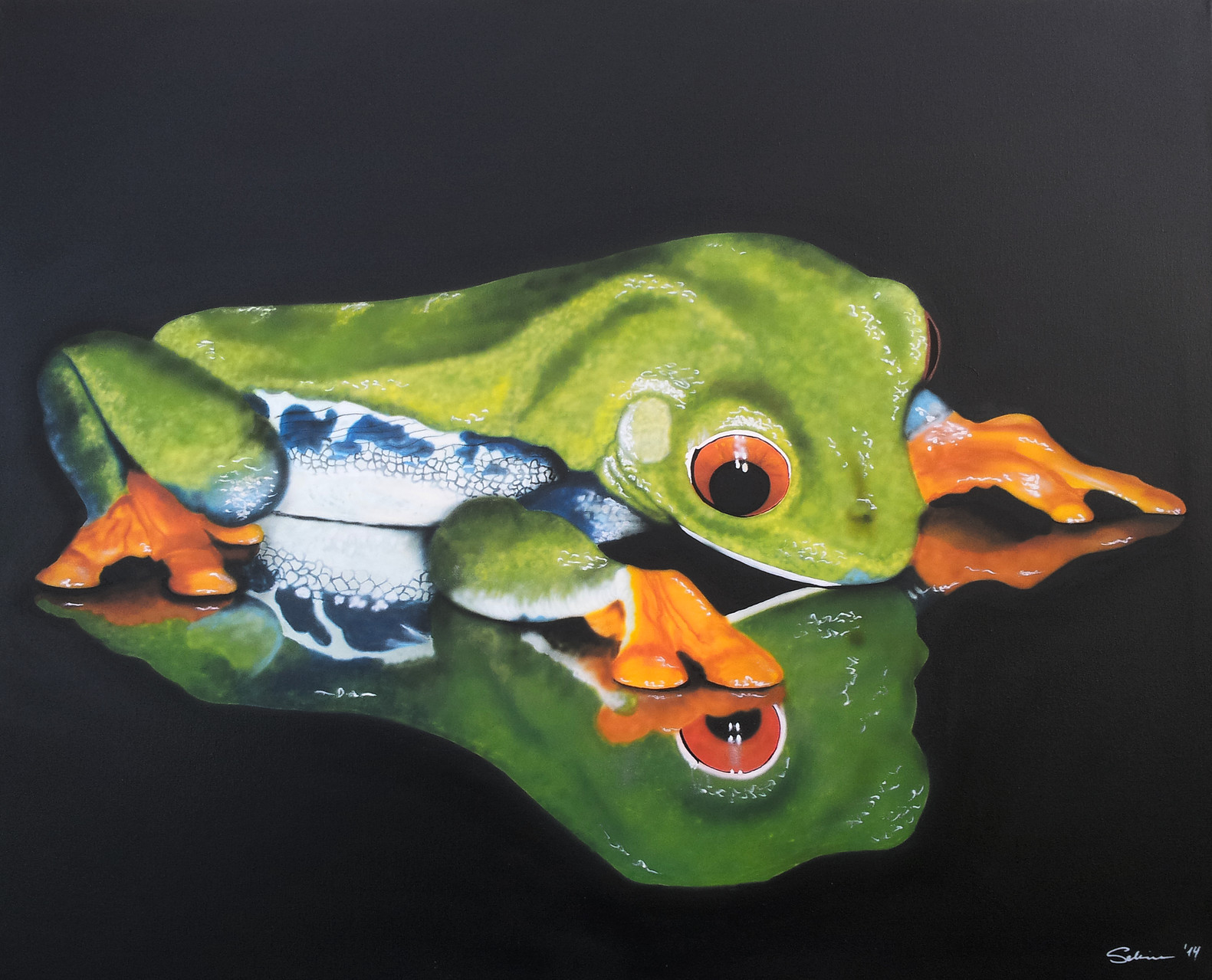 """""""Rotaugenfrosch"""" Leinwand 80 x 100 cm"""