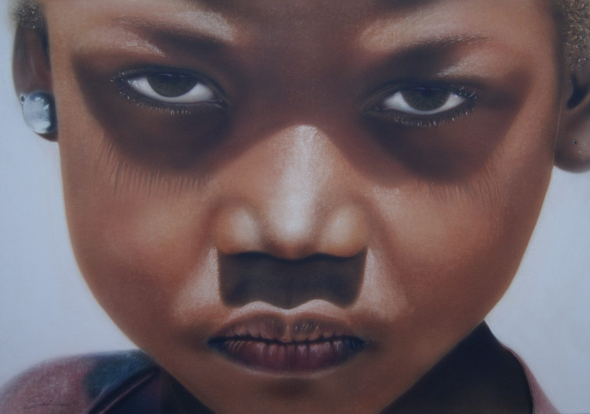 """ohne Hoffnung"" Airbrushkarton ca. 50 x 37 cm"