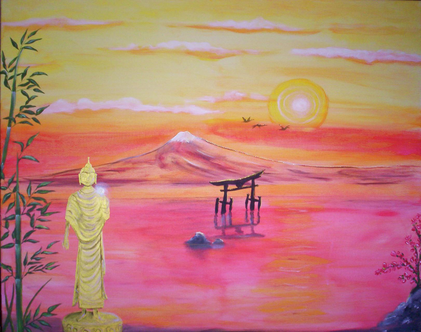 """""""Buddhas sun"""" Leinwand 100 x 90 cm"""