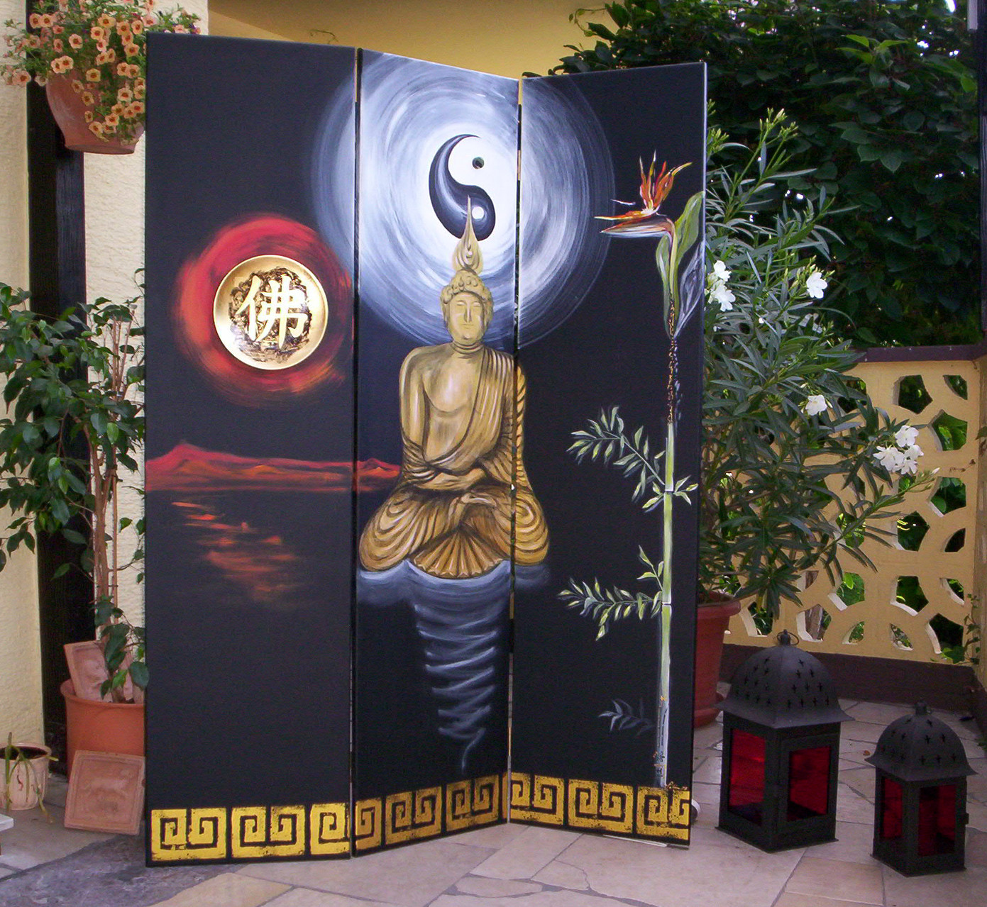 """Paravent Buddha"" Leinwand  3 x 40 x 160 cm"