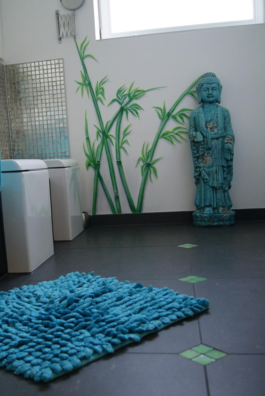 Badezimmer mit Bambus verschönert