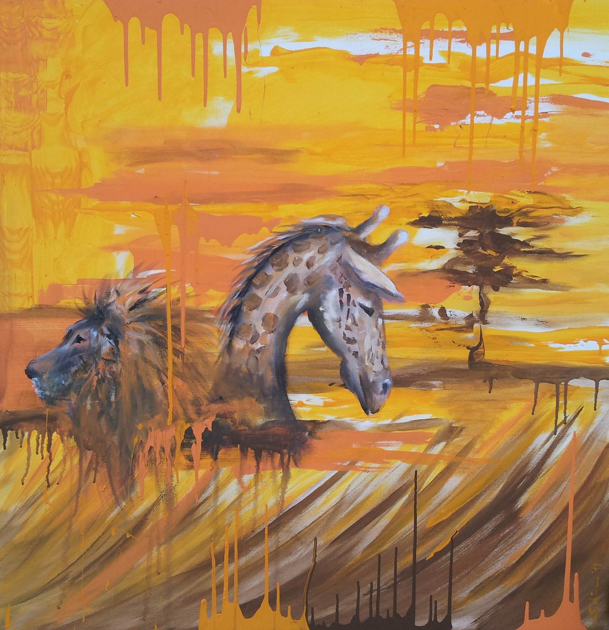 """Modernes Afrika"" Leinwand  100 x 100 cm"