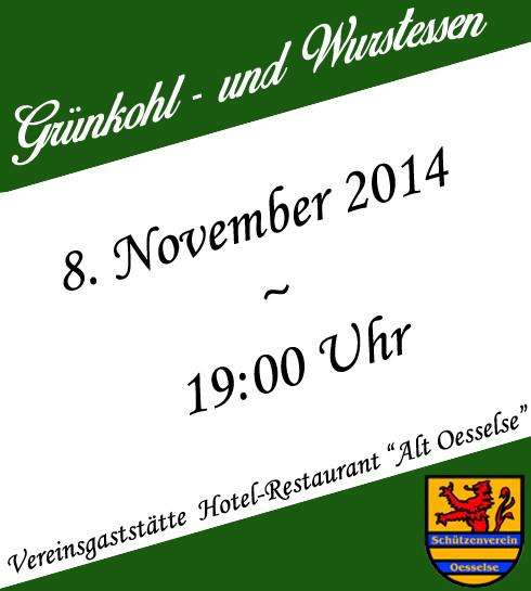 Grünkohl- und Wurstessen am 8. November um 19:00 Uhr!