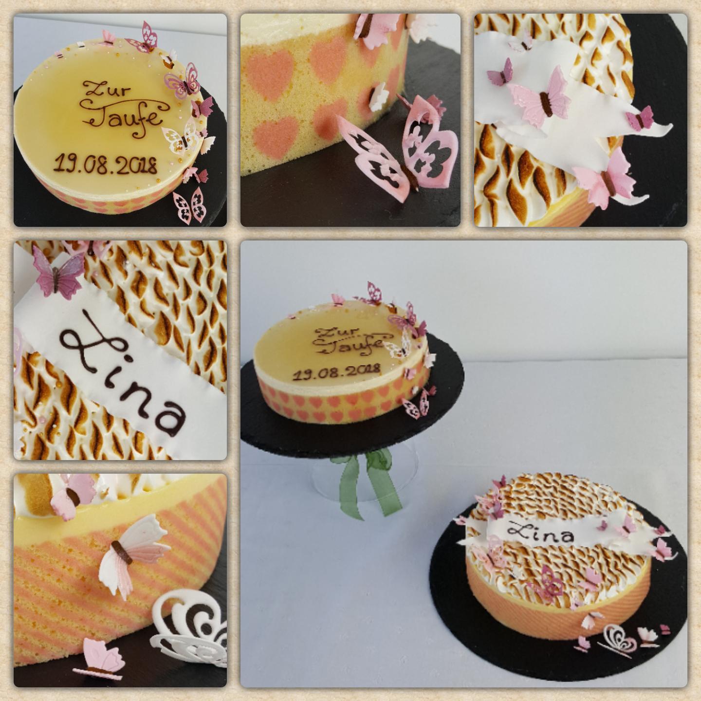 Tauftorten mit abgeflämmten Baiser und Likör Spiegel mit Schmetterlingen, Schriftband und direkt auf die Torte garniert