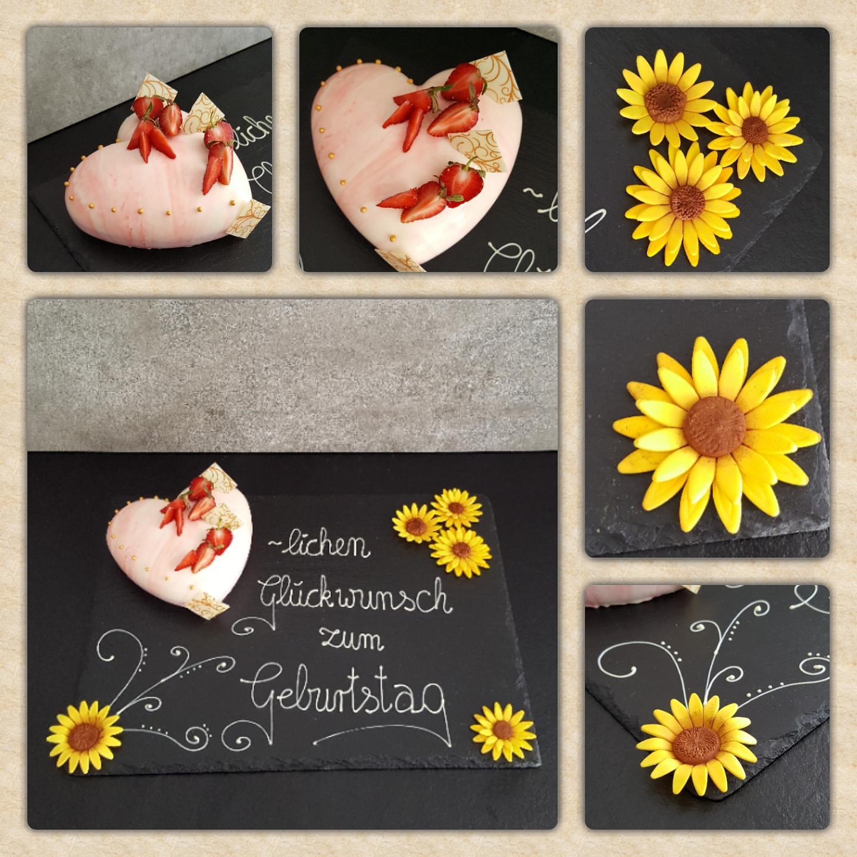 Plastisches Herz (550ml) als Geburtstagstorte mit Sonnenblumen und Kuvertüre Garnierung