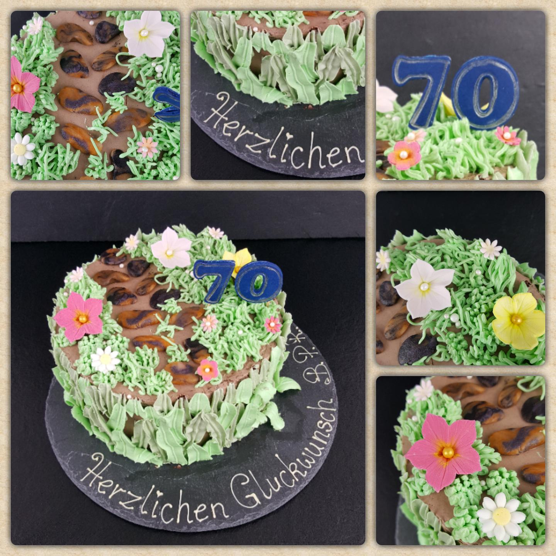 Garten Torte mit Buttercreme Gras und Blütenpasten Dekorelementen