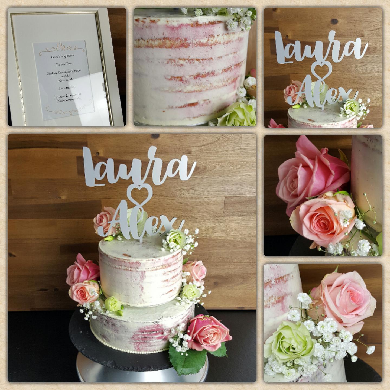Buttercreme Torte im Semi naked Stil und Blumen