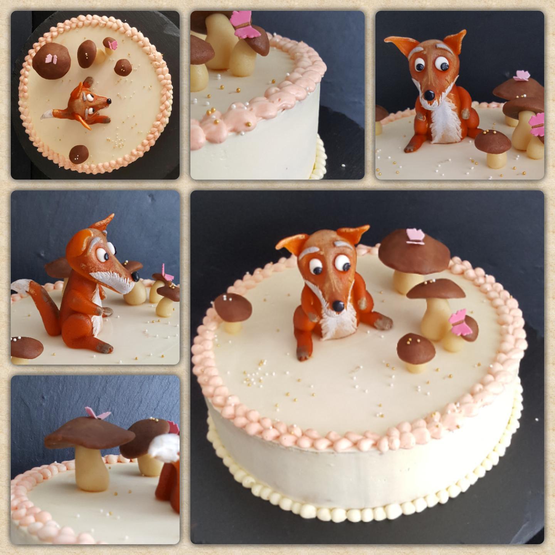 Für den schlauen Fuchs.... Eine Buttercreme Torte mit Buttercreme einstrich und Dekor aus Marzipan